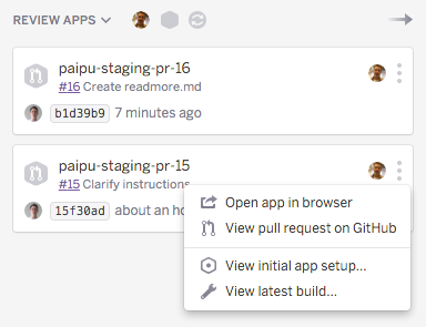 Review apps on the Heroku Pipelines page