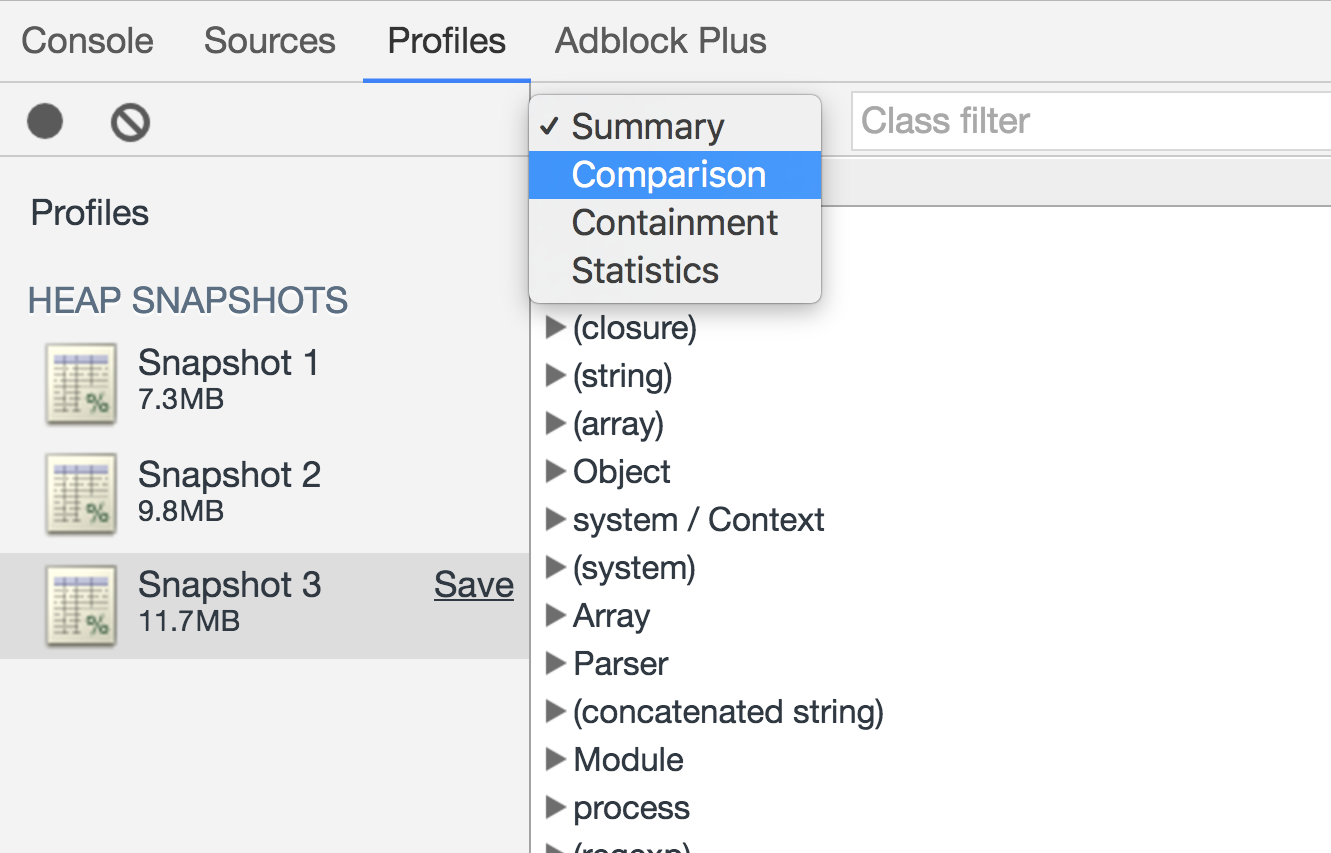 Screenshot demonstrating how to view a heap snapshot comparison