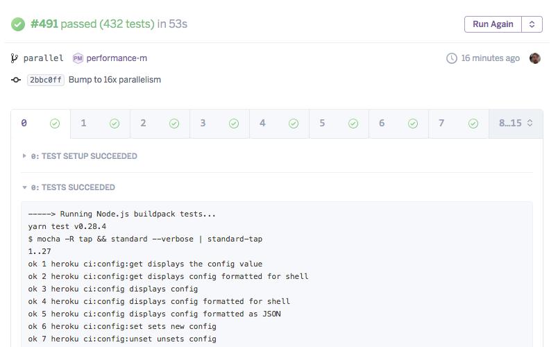 Heroku CI parallel test runs UI