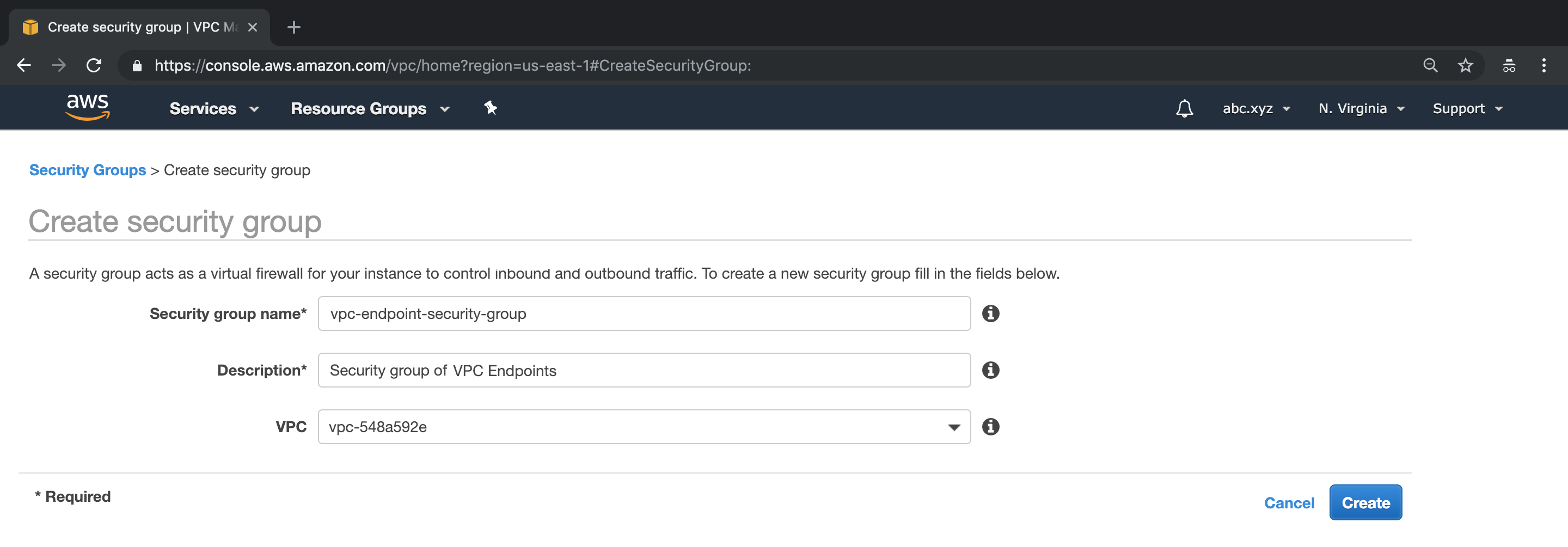 A screen capture showing the security group name and description being edited on the AWS Console
