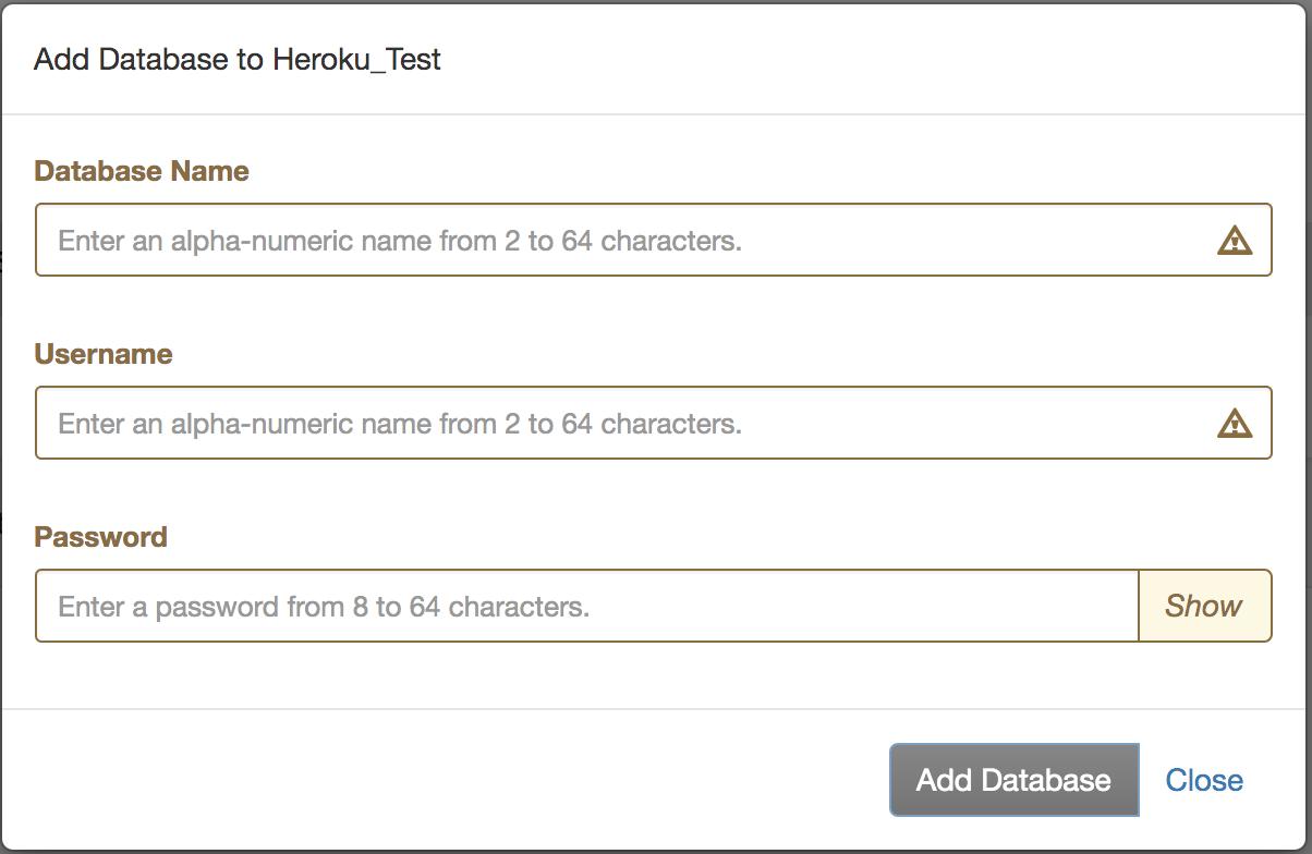 Heroku OR Database Create