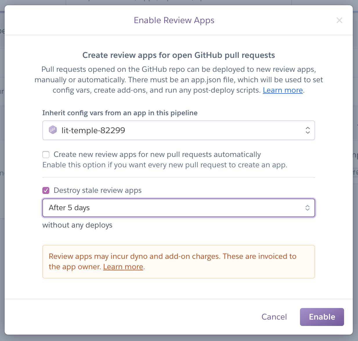Initial set-up of Review apps