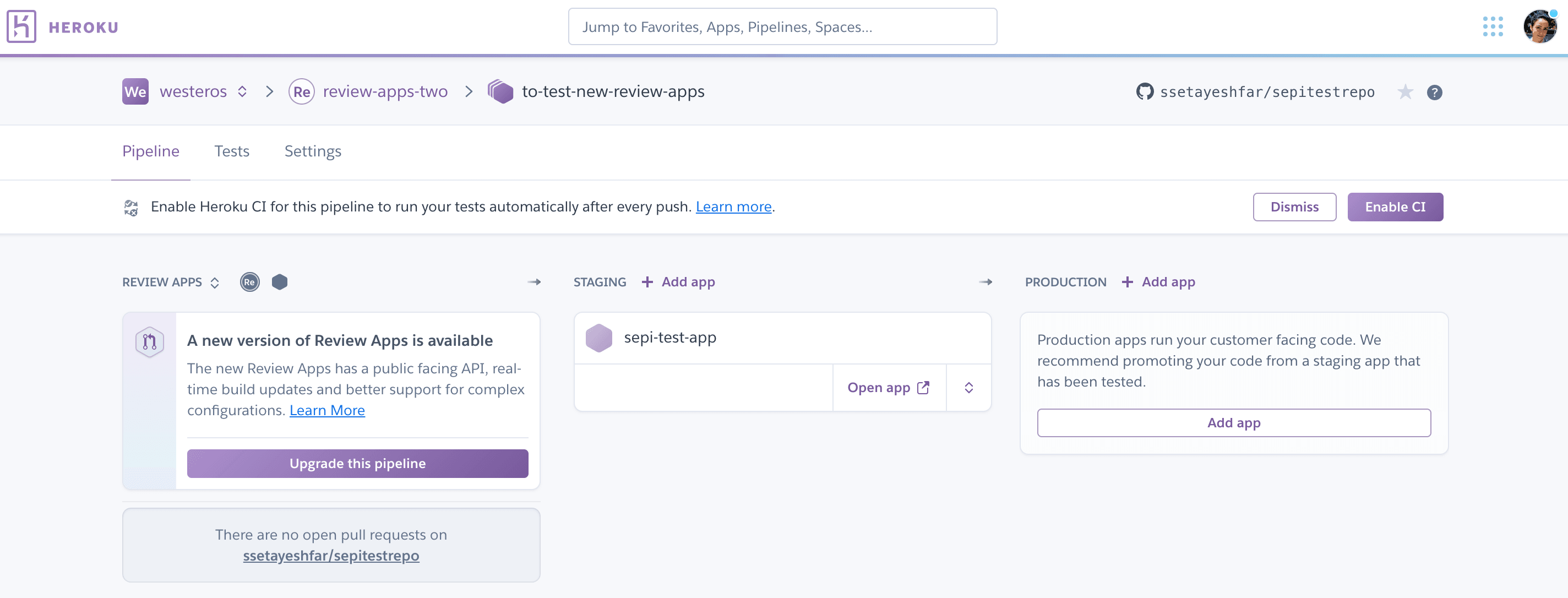 Enable New Review Apps