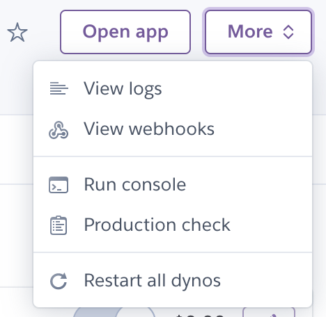 Restart all dynos button in the dashboard