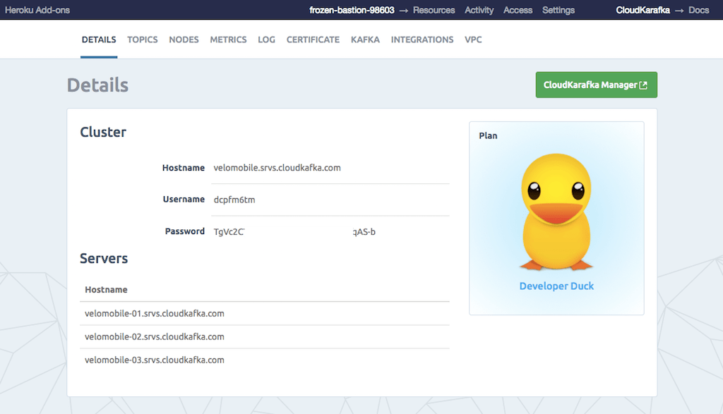 The CloudKarafka Dashboard as seen from Heroku