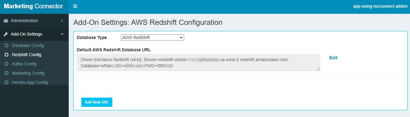 Settings Tab-Redshift Config