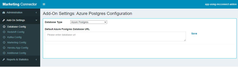 Settings Tab-Postgres Config 1